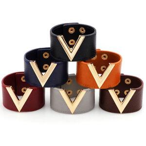 Wide-V-Leather-Bracelet-Bangle-Punk-Cuff-Bracelet-Wrap-Wristband-Jewelry-JG