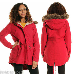 WOMENS LADIES Faux FUR HOODED POCKETS RED PARKA JACKET Short coat ...