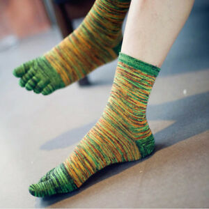 New Fashion Men 1 Pair of Five Finger Toes Retro Color Socks