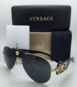 1c9c50122b3d New VERSACE Sunglasses VE 2150-Q 1002 87 Gold   Black Aviator Frames ...