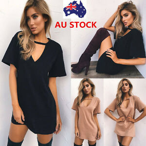 Women-V-Neck-Choker-Mini-Dress-Short-Sleeve-Loose-Long-Shirt-Party-Flared-Dress