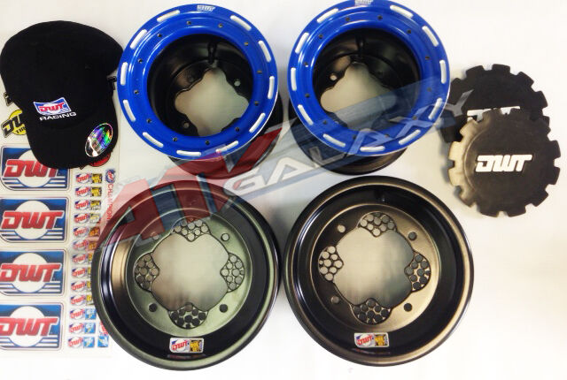 "DWT Blue Champion in a Box 10"" Front 8"" Rear Rims Beadlock Wheels Banshee 350"
