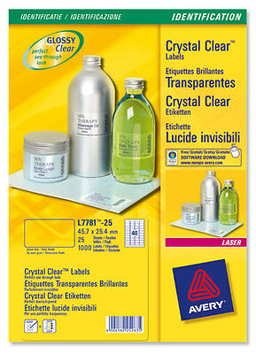 AVERY L7784-25 CLEAR LASER LABELS 1 PER A4 SHEET GENUINE BRANDED-BRAND NEW ©