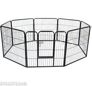 """Pawhut 8 Panel 32"""" Heavy Duty Powder Coated Metal Dog Pet Playpen Exercise Fence"""