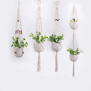 Garden-Plant-Hangers-Macrame-Hanging-Planter-Basket-Cotton-Rope-Flower-Pot-Decor