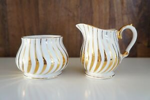 Sadler-White-amp-Gold-Art-Deco-Wavy-Sugar-Creamer-Set-Signed-and-Numbered-2737