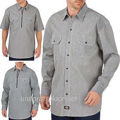 Men/'s Logger Hickory Short Sleeve Shirt with Half Zipper Front Closure