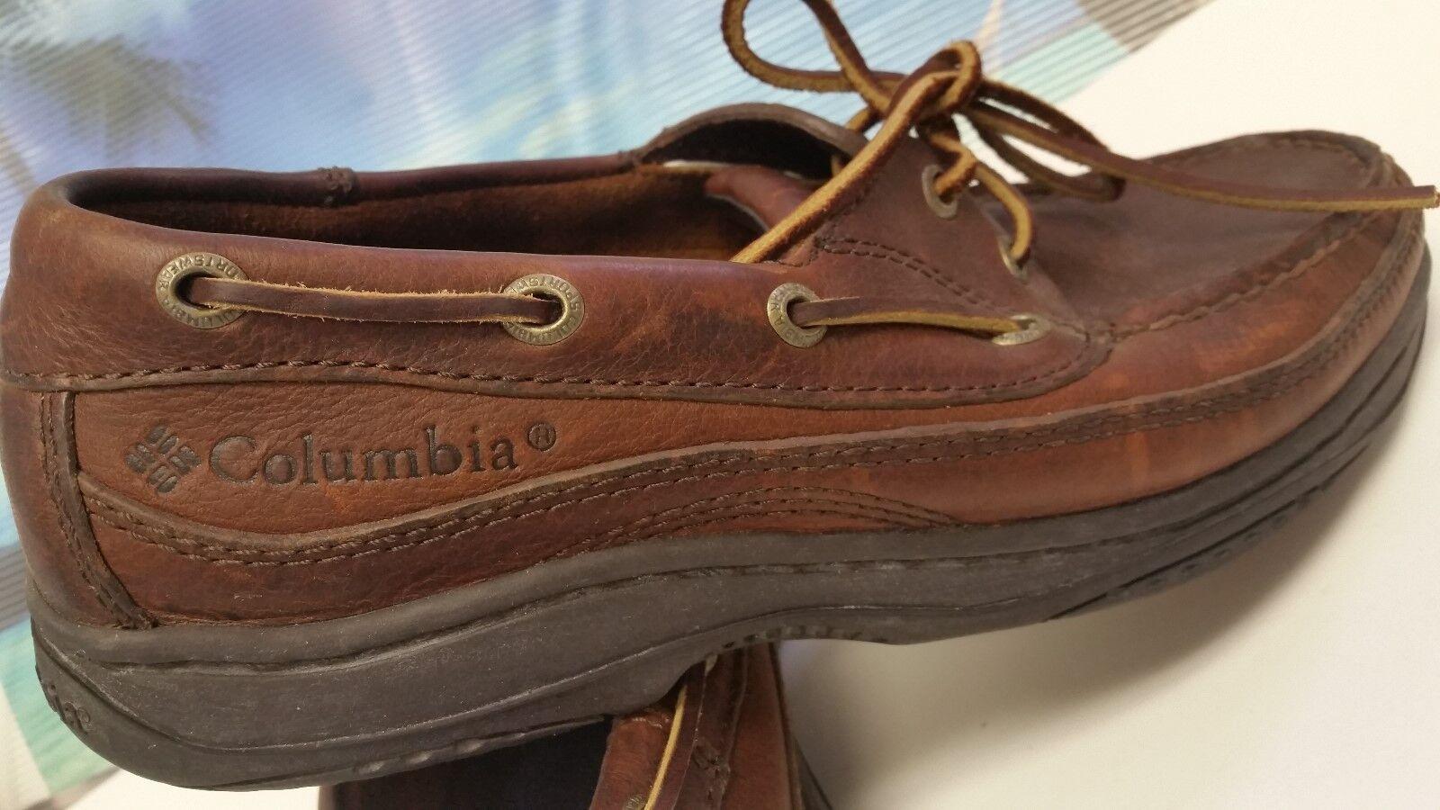 Scarpe casual da uomo Columbia Sportswear Perfect Cast Boat Shoes Brown Leather uomo US size 8 -