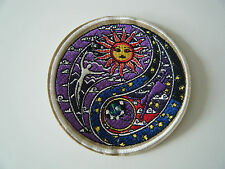 CELESTIAL SUN PATCH Yin & Yang Sun Moon Hippie Embroidered Iron On Badge NEW
