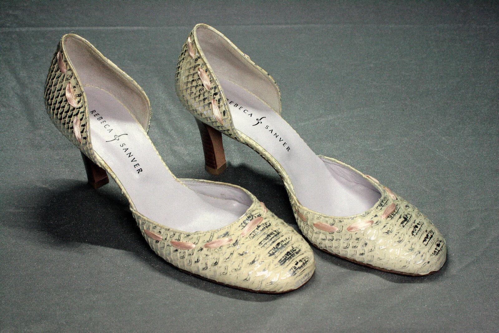 Designer Pumps Rebeca Sanver Gr. 40 Echtleder beige-silver Absatz 8 cm