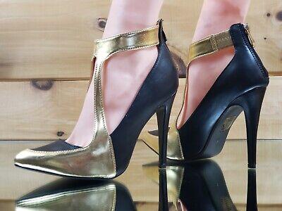 "CR Meg 36 Black Velvet Cut Out Open Toe Gold 4.5/"" High Heel Ankle Boots Shoes"