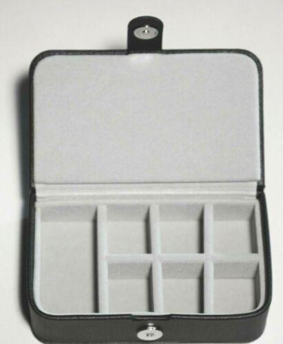 Manschettenknopf-Box aus schwarzem Kunstleder auch für unterwegs