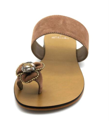 Clarks Sunday Papers Women's UK 4 D /& 7 D Nude Pink Suede Toe Loop Jewel Sandals
