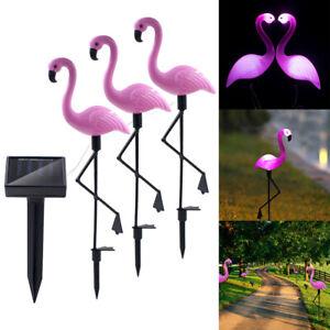 3x-LED-Solar-Leuchte-Rasen-Licht-Flamingo-Solarlampe-Deko-Balkon-Gartenleuchte