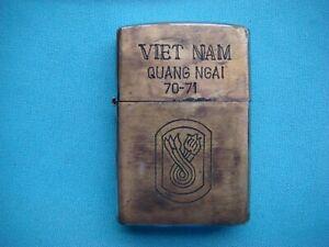 GUERRE-ORIGINAL-ZIPPO-lighter-Vietnam-Quang-Ngai-annee-7-71-196th-Infantry-Logo