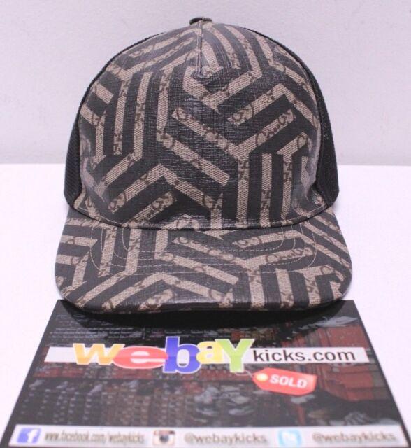 464fc4743fe Gucci GG Logo Print Caleido Mesh Beige Black Snapback Baseball Cap Hat Size  M 58