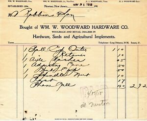 May 31, 1918 WM. W. Woodward Hardware Co. Seeds Agri Implements paper invoice