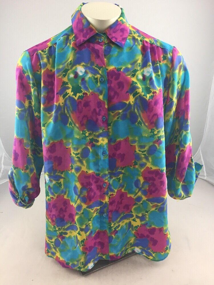EUC Beautiful MC Floral Sheer button up casual long sleeve shirt XL bluee Purple