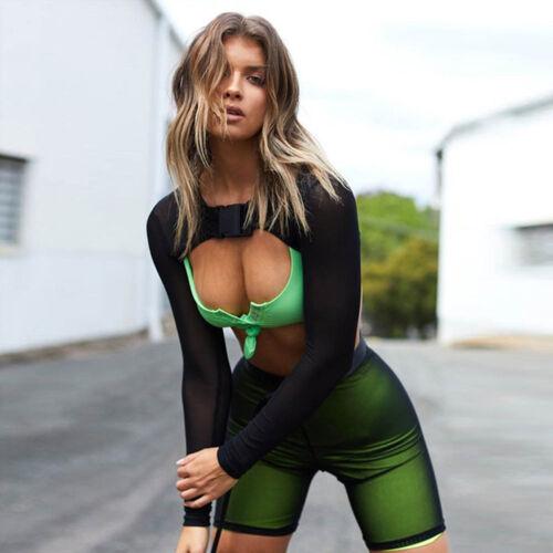 Damen Langärmlig Netz Schier Durchsichtig Oberteile T-Shirt BLUSE Ausschnitt