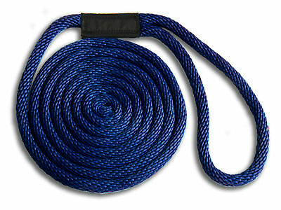 "Floats // UV // USA 1//2/"" x 20/' 4-PACK! Solid Braid Nylon Dock Line NAVY BLUE"