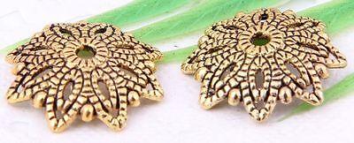 Wholesale 36/80Pcs Tibetan Silver/Gold(Lead-Free)Flower Beads Caps 16x3mm