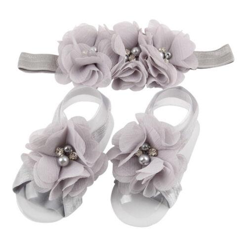 3PCS//Set Baby Chiffon Perle Rhinestone Stirnband Fuß Blumen Elastisches Haarband
