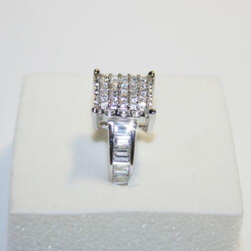 Diamond Alternatives Pave Set Engagement Promise Ring 14k White Gold over 925 SS