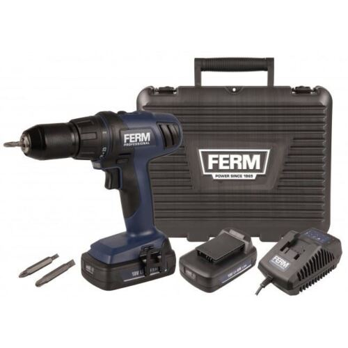 Ferm Professional Cordless 18v Li-Ion Drill with Twin 2.0Ah Battery Screwdriver