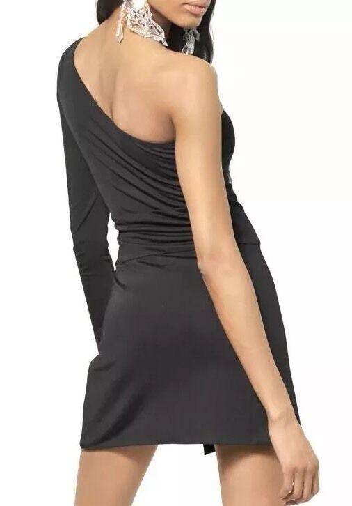 BALMAIN NERO one-sleeve Asimmetrico Cocktail Mini Dress FR 40 US 8, 44