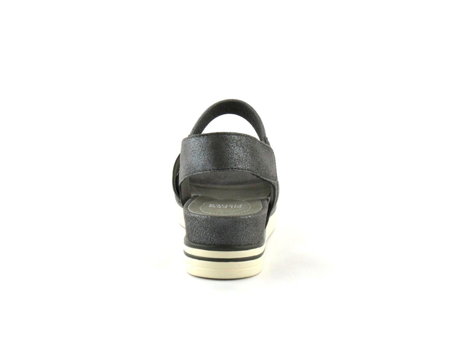 Eileen Fisher Somer argent métallisé en cuir cuir cuir et daim plateforme baskets Sandale 10 NEUF bb4ccc