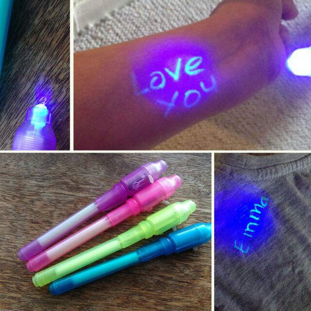 3Pcs Funny Invisible Ink Spy Pen Built in UV Light Marker Secret Message Gadget