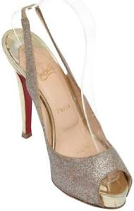 CHRISTIAN-LOUBOUTIN-Platform-Sandal-Leather-Gold-Glitter-No-PRIVE-120-Sz-38