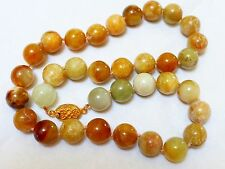 """CHINESE OLD JADE BEAD NECKLACE, SILVER  CLASP, 84 GRAMS, 19"""" long"""