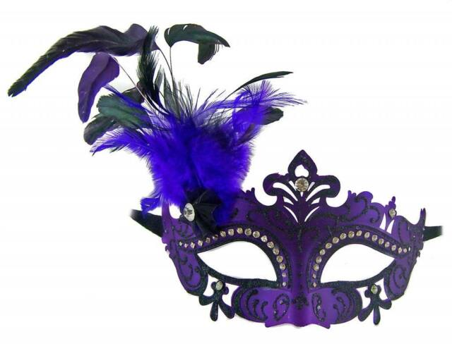 Venetian MASQUERADE MARDI GRAS PURPLE - FEATHERED - PARTY FACE MASK