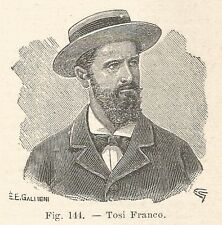 B1268 Franco Tosi - Incisione antica del 1931 - Engraving
