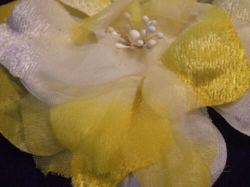 "Hair IB1 Vintage Millinery Flower 4/"" Sun Yellow Velvet Chiffon for Hat Bride"
