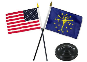 Indiana-State-w-USA-America-American-Flag-4-034-x6-034-Desk-Set-Table-Stick-Black-Base