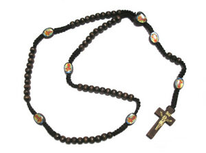 Dark Brown Rosary Beads Orthodox Cross Alloy Pendant Necklace Fashion Religious