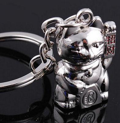 Silver Smiling Lucky Cat Fun Cat Metal Keychain Keyring Keyfob Key Ring QQ