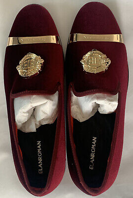 ELANROMAN Mens Loafers Velvet Crown Embroidered Wedding Party Prom Shoes