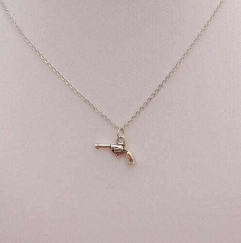 Small Sheriff Pistol Handgun Necklace Chain Pendant Shooter Gun Silver Alloy