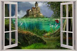 Huge-3D-Window-view-Enchanted-Castle-Wall-Sticker-Mural-Art-Decal-174