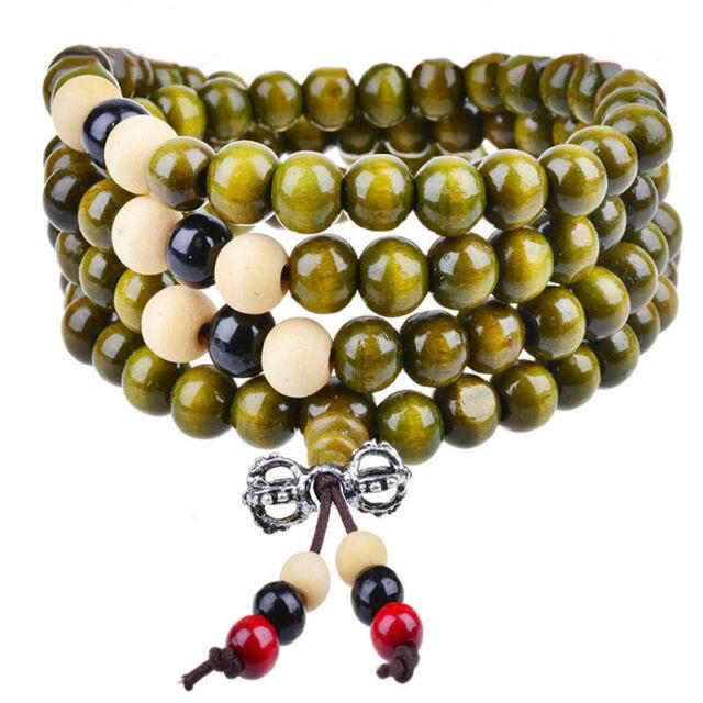 Women Men New Colorful Long Necklace Wood Bead Stretch Bracelet Jewelry