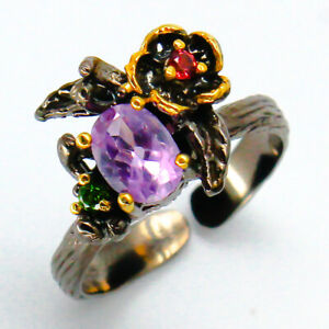 Outstanding-Art-Natural-Amethyst-9x7mm-925-Sterling-Silver-Ring-RVS83