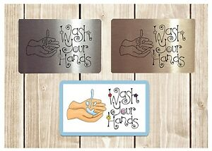 WASH-YOUR-HANDS-Silver-Gold-or-White-Metal-Sign-for-bathroom-wall-or-toilet-door