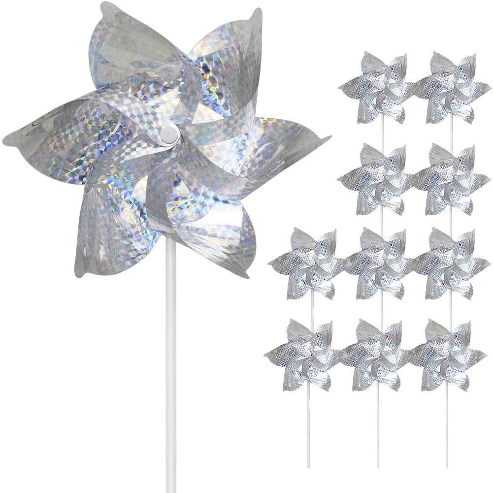 SUNPRO Reflective Pinwheels, 10-Pack Extra Sparkly Pin Wheel for Garden Decor,