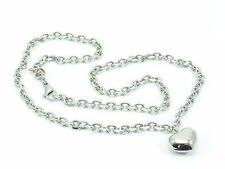 Stainless Steel 316L Chain Link Necklace Heart Pendant Women's Women