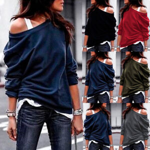US-Womens-Off-the-Shoulder-Sweatshirt-Baggy-Blouse-Pullover-Tunic-Jumper-Tops