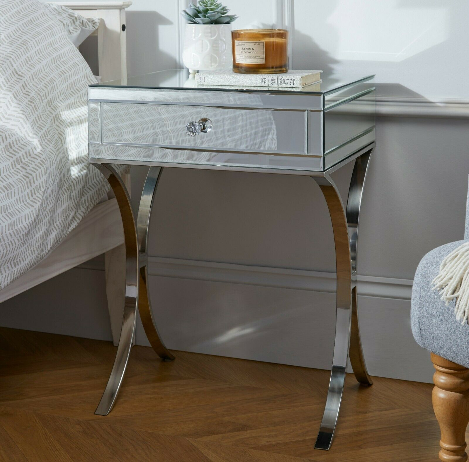 PORTO Mirrored Bedside Bed SideTable Cabinet Draws Bedroom ...