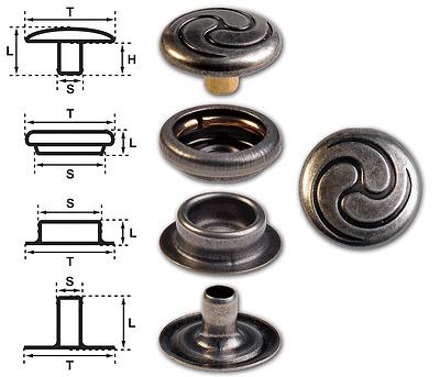 """Ringfeder-Druckknöpfe /""""F3/"""" 14mm Keltische Spirale messing-antik nickelfrei"""